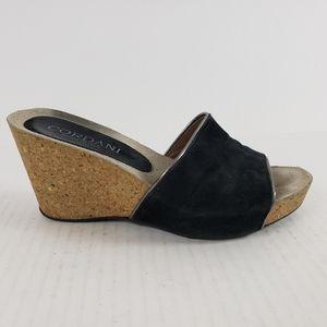 Cordani Abby Cork Wedge Sandal 37 Black Silver